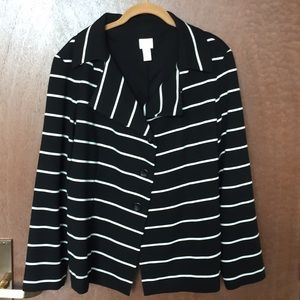 Chico's lined black and white striped jacket